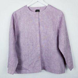 Eileen Fisher 100% Linen Lilac Shirt Jacket - M